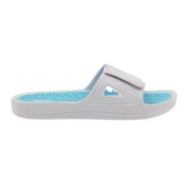 American Club American klapki damskie basenowe białe niebieskie