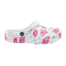 American Club American klapki dziecięce kroksy kwiaty białe szare różowe