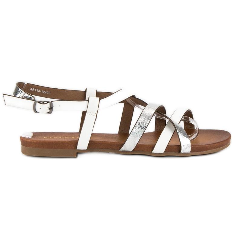 Białe sandały vinceza szare