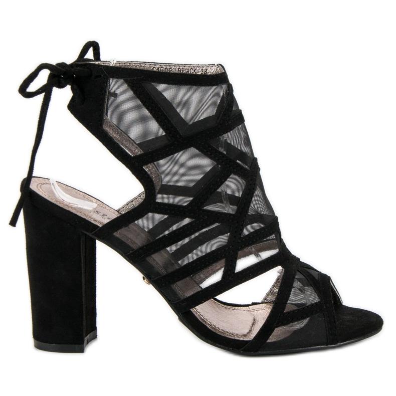 Seastar Ażurowe sandały na słupku czarne