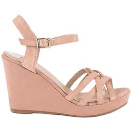 Seastar Zamszowe sandały na koturnie różowe