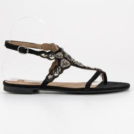 Corina Eleganckie sandały japonki czarne szare