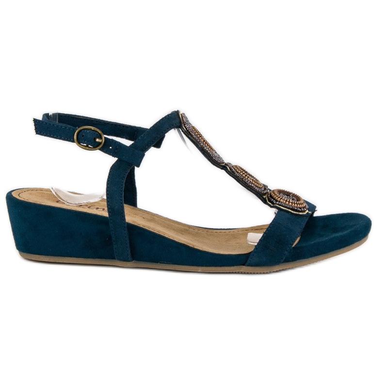 Corina Granatowe sandały na niskiej koturnie