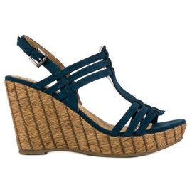Corina Granatowe sandały na koturnie