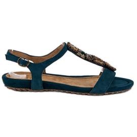 Corina Stylowe Płaskie Sandały niebieskie