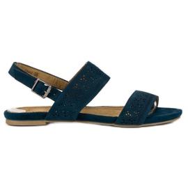 Corina Zamszowe płaskie sandałki niebieskie