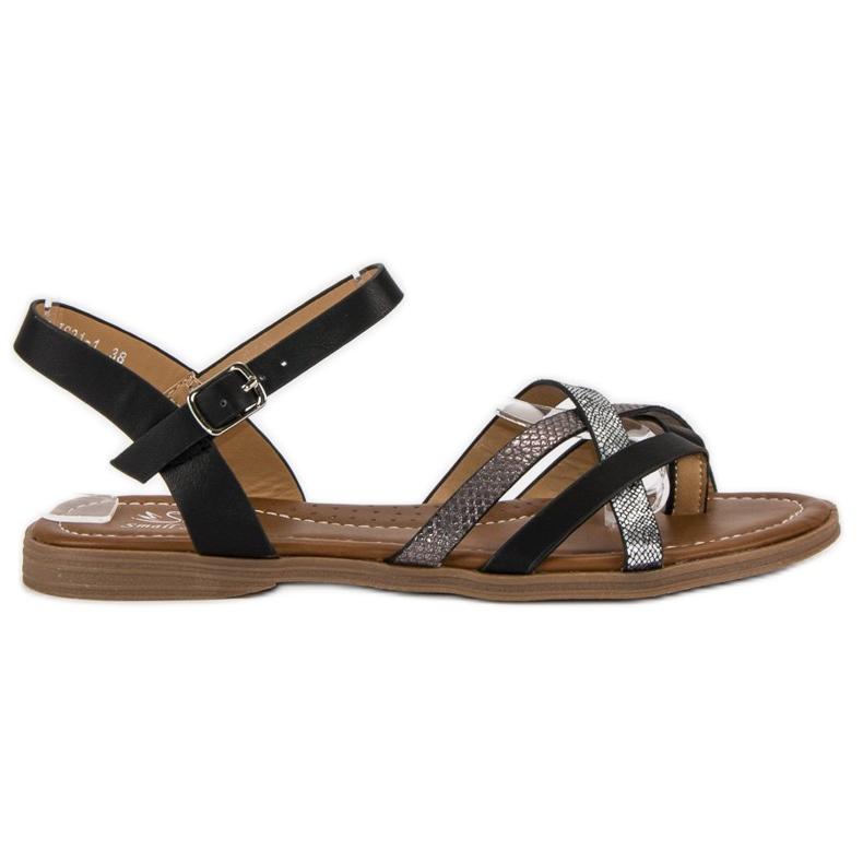 Small Swan Klasyczne czarne sandały szare