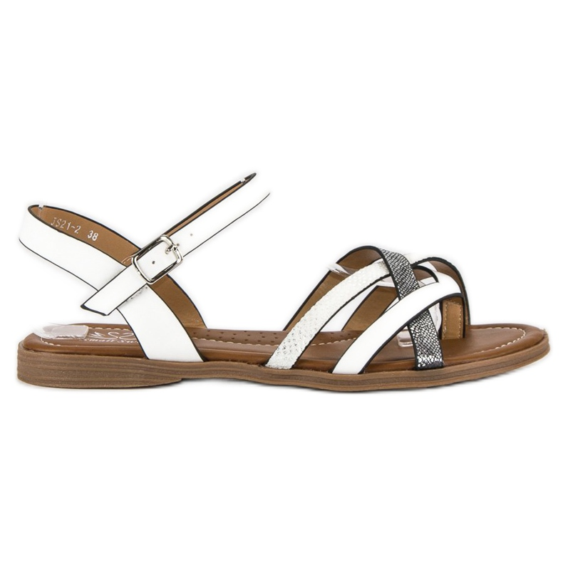 Small Swan Klasyczne białe sandały szare