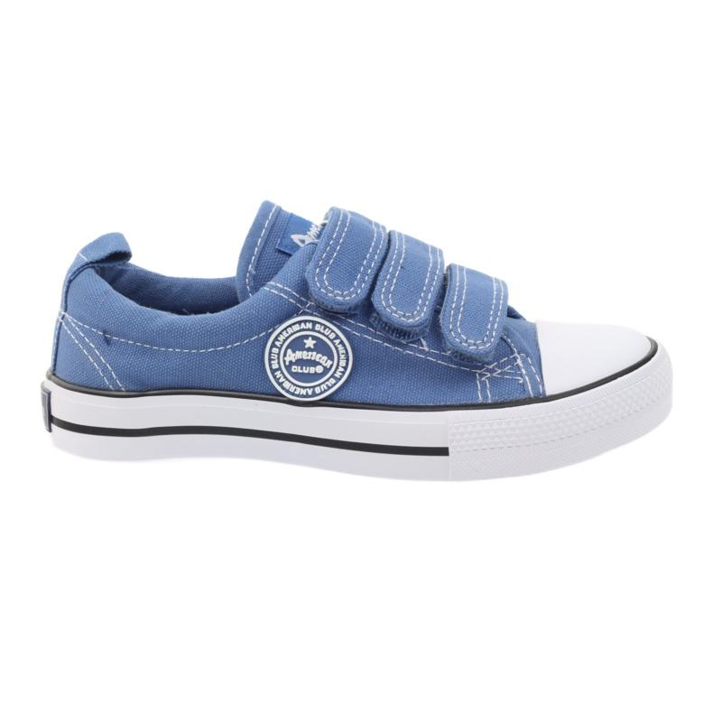 American Club Trampki tenisówki na rzepy American blu niebieskie