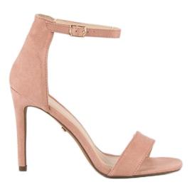 Seastar Zamszowe sandały na szpilce różowe