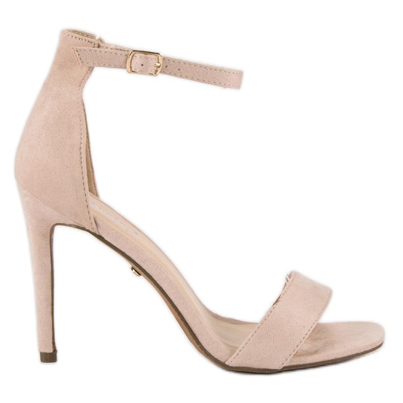 Seastar Zamszowe sandały na szpilce brązowe