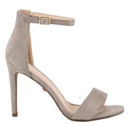 Seastar Zamszowe sandały na szpilce szare