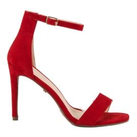 Seastar Zamszowe sandały na szpilce czerwone