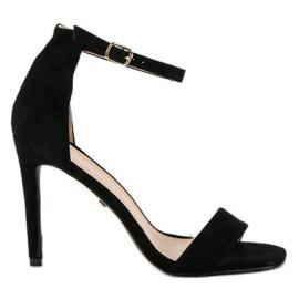 Seastar Zamszowe sandały na szpilce czarne
