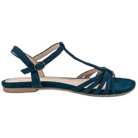 Corina Granatowe Płaskie Sandały niebieskie