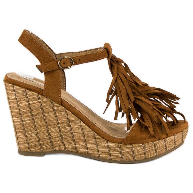 Corina Brązowe sandały z frędzlami