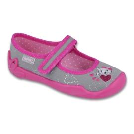 Befado obuwie dziecięce 114X295 szare różowe