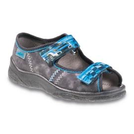 Befado obuwie dziecięce 969Y117 niebieskie szare