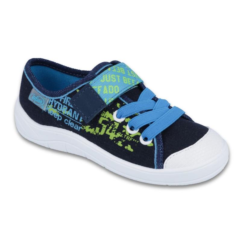Befado obuwie dziecięce 251X099 niebieskie zielone granatowe