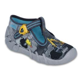 Befado obuwie dziecięce 110P321 czarne niebieskie szare żółte