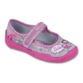 Befado obuwie dziecięce 114X305 szare różowe