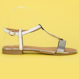 L. Lux. Shoes Białe Sandały Płaskie