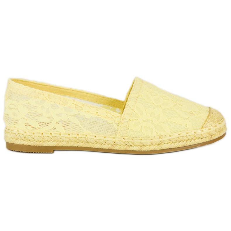 Seastar Żółte koronkowe espadryle
