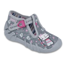 Befado obuwie dziecięce 110P326 szare różowe