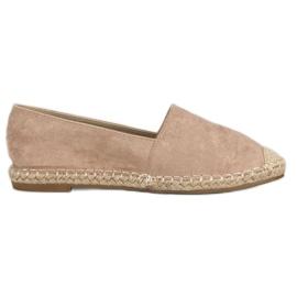 Best Shoes Beżowe zamszowe espadryle beżowy
