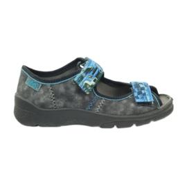 Sandałki kapcie na rzepy Befado 969x117 niebieskie szare