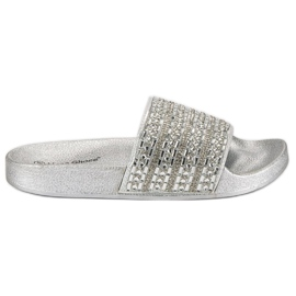 Eleganckie srebrne klapki szare
