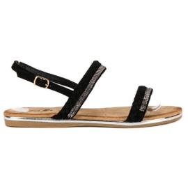 Fama czarne Zamszowe Płaskie Sandały
