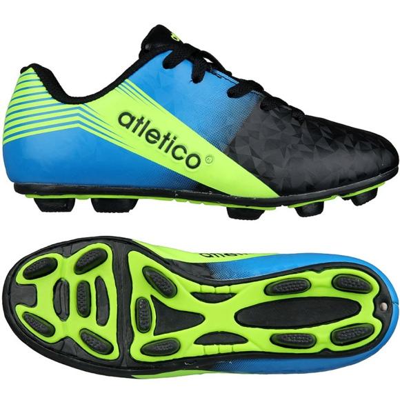 Buty piłkarskie Atletico Fg Junior S76520 czarny, niebieski wielokolorowe