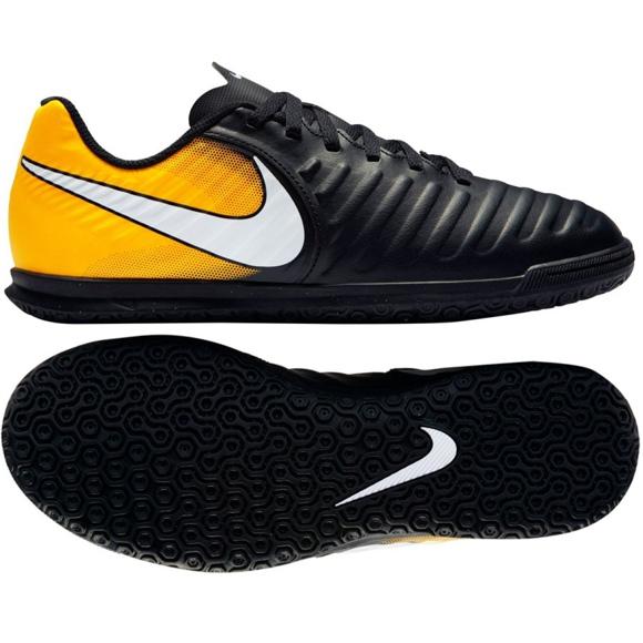 Buty halowe Nike TiempoX Rio Iv Ic Jr 897735-008 czarne czarny, żółty