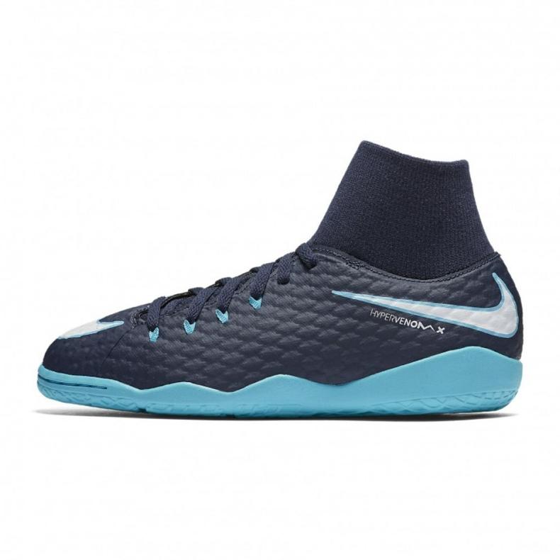 Buty halowe Nike HypervenomX Phelon Iii Df Ic Jr 917774-414 niebieskie wielokolorowe