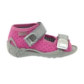 Befado 242p083 sandały różowe w kropki czarne szare