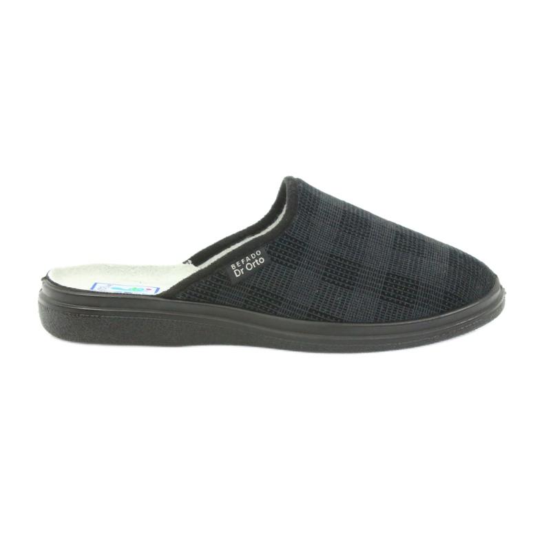 Befado obuwie męskie125m klapki kapcie zdrowotne czarne szare