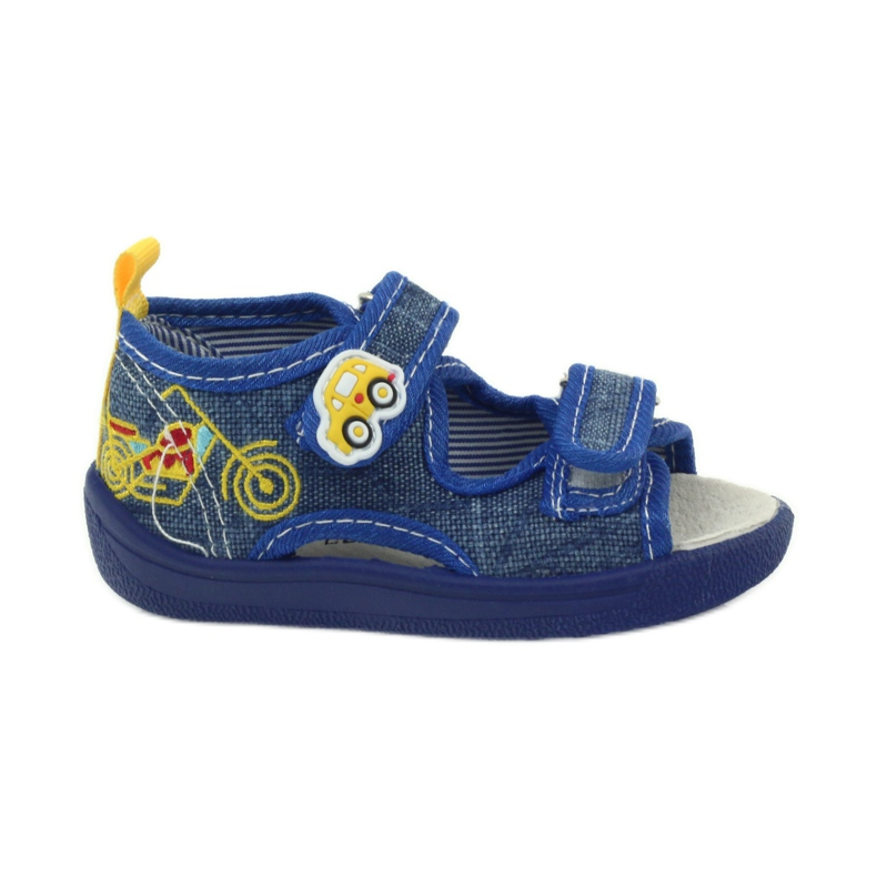 American Club American sandałki buty dziecięce wkładka skórzana niebieskie żółte