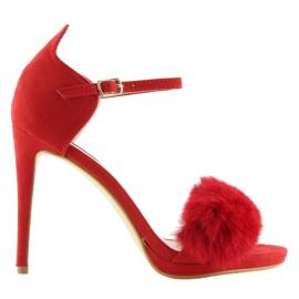 Sandałki na szpilce czerwone L6120 Red