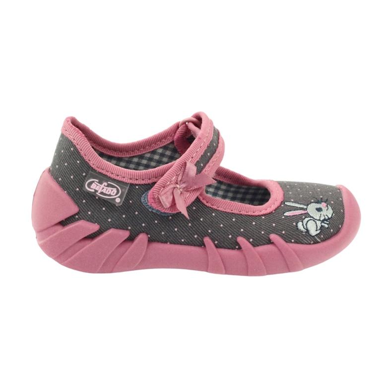 Befado obuwie dziecięce 109P168 szare różowe