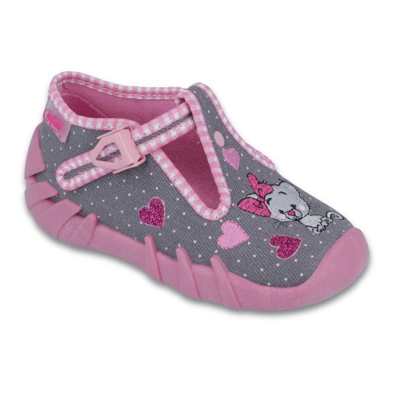 Befado obuwie dziecięce 110P331 szare różowe