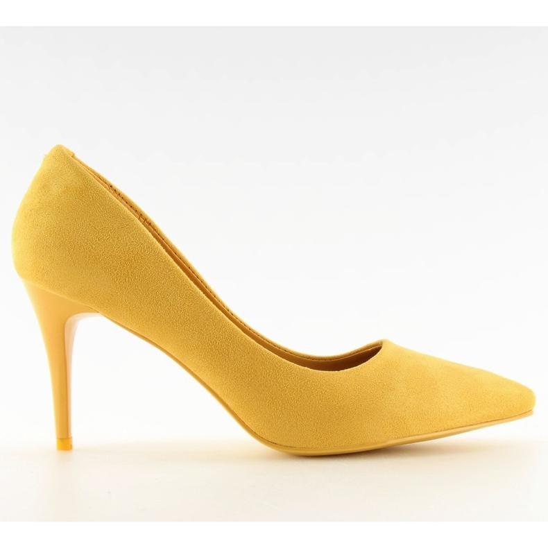 Zamszowe szpilki żółte LEI-90 Yellow