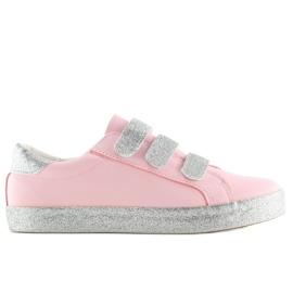 Trampki zapinane na rzepy różowe XL10P Pink