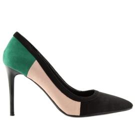 Szpilki damskie tricolor LT104P BLACK/PINK/GREEN czarne zielone różowe