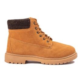 Original Walkman Shoes Camelowe Traperki Ze Skóry brązowe