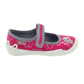 Befado obuwie dziecięce kapcie balerinki 114x308 szare różowe
