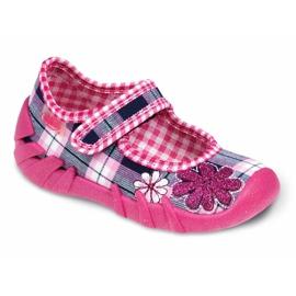 Befado czarne obuwie dziecięce komf. do 23 cm 109P051 różowe