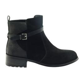 American Club czarne American botki buty zimowe zamszowa skóra
