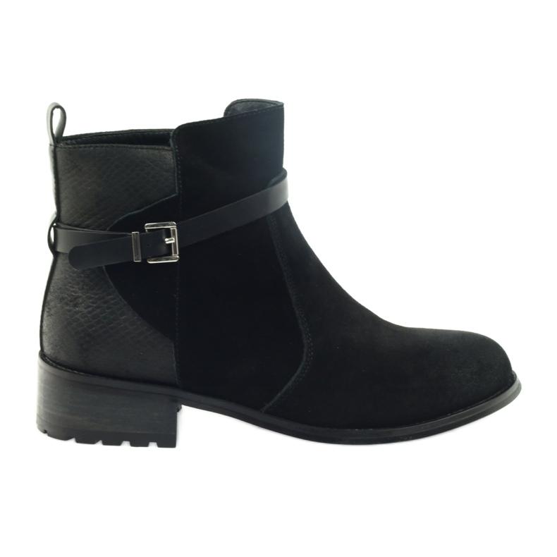 American Club American botki buty zimowe zamszowa skóra czarne