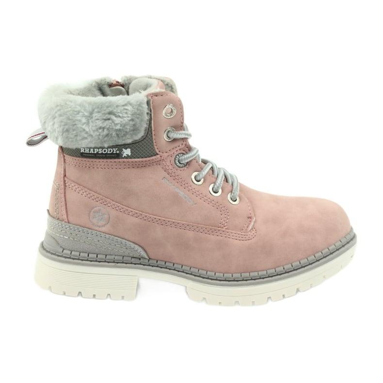 American Club American kozaki trzewiki buty zimowe 708122 szare różowe